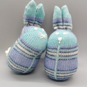 Aqua Plaid Baby Bunnies set of 2